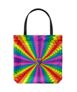 Psychedelic Hearts Graphic Art Tote Bag Everyday Travel Beach Shoulder o... - $19.95