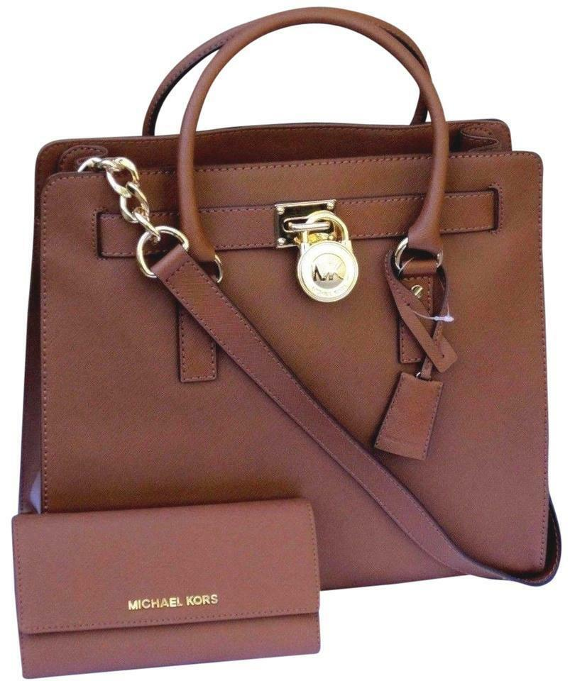 MICHAEL KORS HAMILTON 2PC LARGE TOTE BAG MATCHING WALLET LUGGAGE BROWN GOLD*NWT*