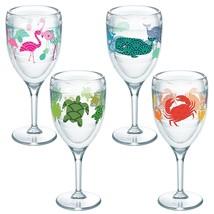 Tumbler W/Wrap 4 Pack 9oz Wine Glass Clear Original Tervis 4 Designs Ent... - $81.08