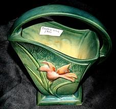 """Roseville Zephyr Lily Green 8"""" Basket  394-8"""" AA20-2439 Vintage   240"""