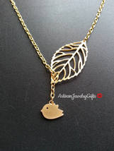Matte Gold Bird Skeleton Leaf Lariat Necklace Gold Bird Necklace Gold Sp... - $32.00+
