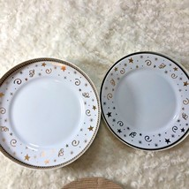 """Pampered Chef Salad Dessert Plate Lot of 4 New White w Gold Stars 8.25"""" ... - $32.36"""