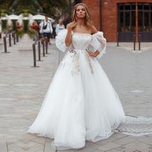 Victorian Princess Cut Off the Shoulder A-Line Tulle Long Sleeve Wedding Gown Br