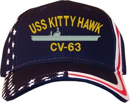 USS Kitty Hawk CV-63 Embroidered Stars & Stripes Baseball Cap Hat Navy - $25.95