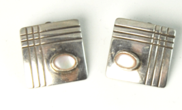 Sterling Mother of Pearl Clip on Frank Ramone Earrings 16mm Square Stripe - $9.89