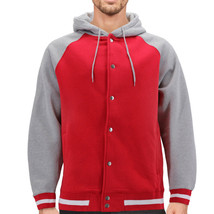 Men's Fleece Varsity Sweatshirt Letterman Sports Raglan Button Up Hoodie Jacket image 2