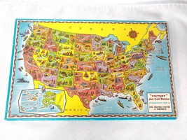 Victory No. 7491 U.S.A. United States Map Wooden Jigsaw Puzzle made in England - $37.50