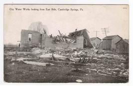 Tornado Damage City Water Works Cambridge Springs PA 1909 postcard - $6.44