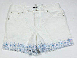 GAP GIRLS CHILD SIZE 10 SHORTS WHITE BLUE FLOWERS SEQUINS BEADS SCALLOPE... - $9.25