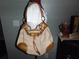 e1659272f57a Original Car Shoe Prada Canvas & Tan Leather Tote Shoulder Satchel Hobo  .