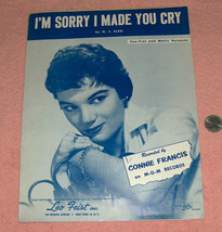 VTG Scarce 1958 CONNIE FRANCIS I'm Sorry I Made You Cry Song Book Sheet ... - $14.83