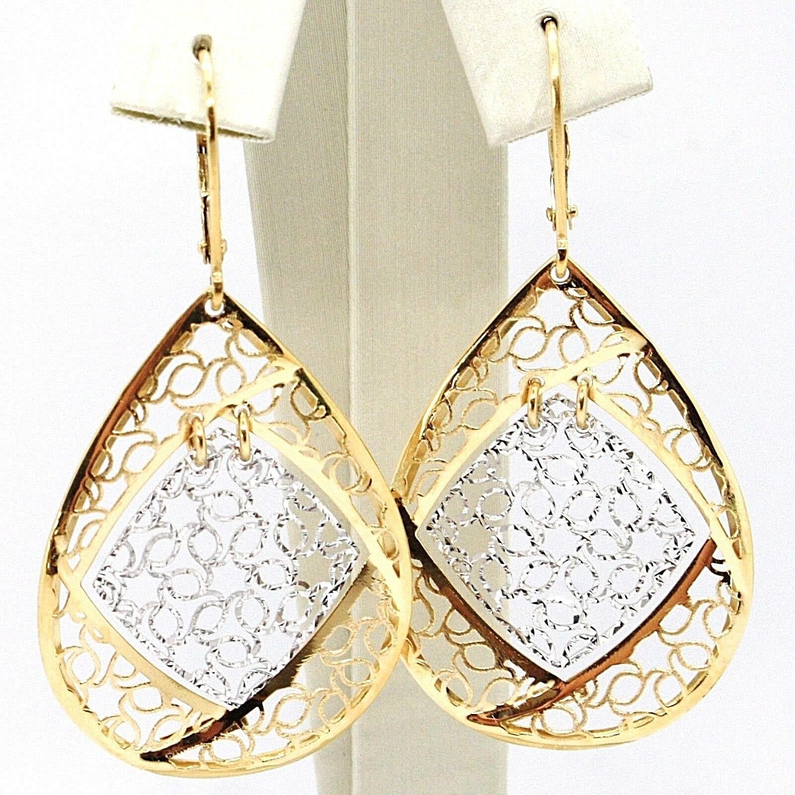 18K YELLOW WHITE GOLD PENDANT EARRINGS, BIG FINELY WORKED DROPS, MADE IN ITALY