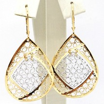 18K YELLOW WHITE GOLD PENDANT EARRINGS, BIG FINELY WORKED DROPS, MADE IN ITALY image 1