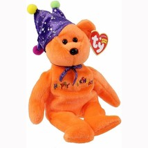 Happy Birthday the Orange Bear Purple Jester Hat Ty Beanie Baby MWMT Ret... - $9.85