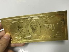 WR US $2 Gold Foil Banknote Golden Money Bill Collection Big Sales Busin... - $3.88