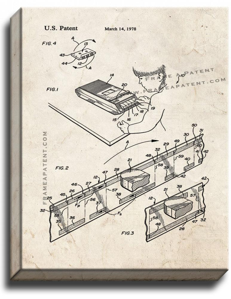 Primary image for Cassette Tape Recorder Patent Print Old Look on Canvas