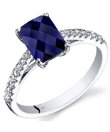 14k White Gold Radiant Cut Blue Sapphire and White Topaz Ring  - $399.99