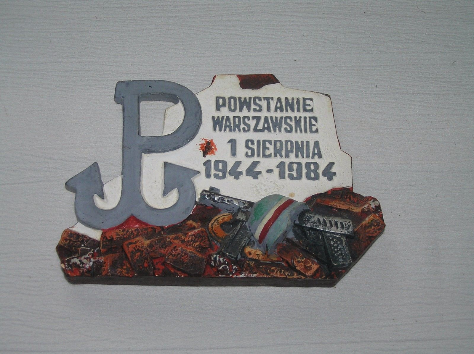 Vintage Polish Uprising 40 year Anniversary Painted Chalkware Wall Hanging Plaqu