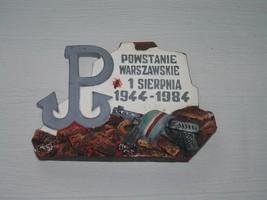 Vintage Polish Uprising 40 year Anniversary Painted Chalkware Wall Hangi... - $18.49