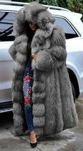 Women's Club Style Warm Hooded Thick Full Length Faux Fox Fur Coat image 3