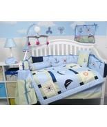 Blue Green Nautical Sailboat 10 pcs Crib Bedding Set Baby Boy Nursery Bu... - $107.81