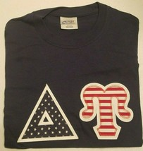 DELTA UPSILON - Red White and Blue Lettered Navy Blue t-shirt: Size SMALL - $21.50