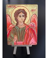 Christian Orthodox Icon of Guardian Angel Original Art Acrylic Painting ... - $18.50