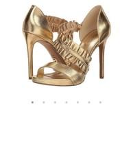 Michael Kors Bella platform metallic leather gold size 10 MSRP $120 - $61.74