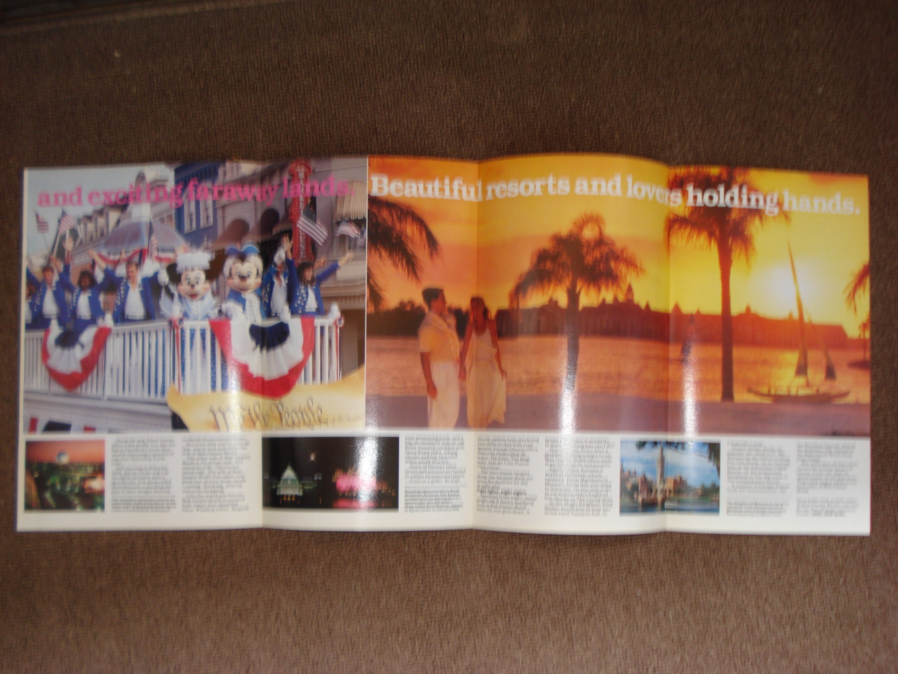 1987 Disney Six Part Color Fold Out Eat, Sleep and Drink Walt Disney World NM