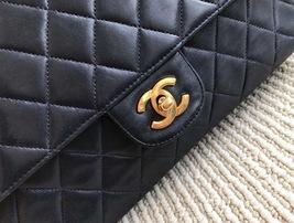 100% Authentic Chanel Vintage Dark Blue Lambskin Medium Classic Double Flap Bag  image 5