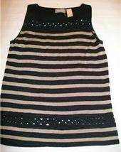 Women Liz Claiborne Shirt Top S Small Black Gold Strip - $8.99