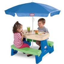 Kids Play Outdoor Indoor Fun Little Tikes Easy Store Play Table with Umb... - $97.49