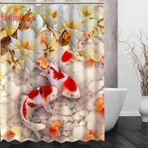 fish carp Shower Curtain Eco-friendly Modern Fabric polyester Custom Bath Curtai - $45.61