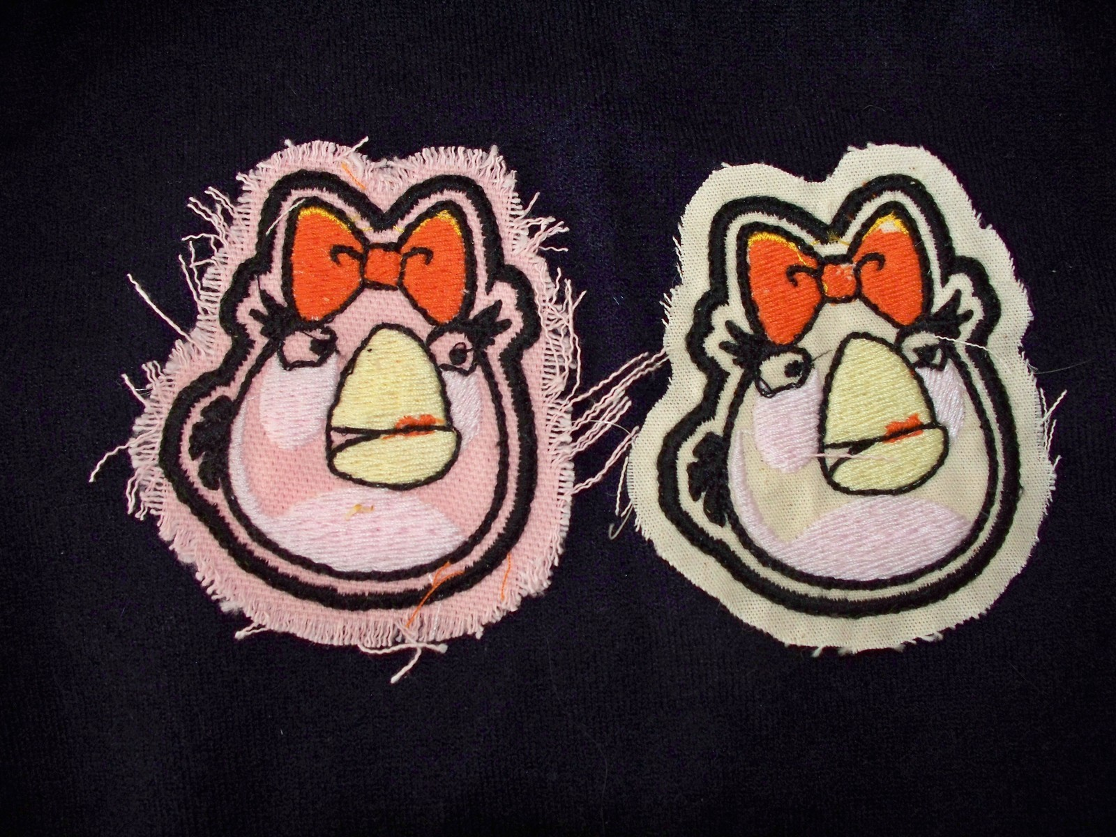 2 Angry Bird IRON ON Appliques 1 with pink backing 1 w cream backing 3 X 2.5 - $5.99