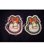 2 Angry Bird IRON ON Appliques 1 with pink backing 1 w cream backing 3 X... - $5.99