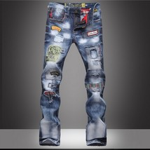 2018 New Fashion Men Jeans Pants High Quality Men's Cotton Hole Jeans Fashion Pr - $33.66
