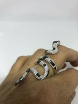 Vintage Real Crystal Gothic Snake 2.5 in 925 Sterling Silver Adjustable ... - $232.65