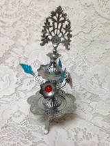 Vintage, Rare, 7in T,  Silver Tone Metal  Perfume Bottle with Pierced Fl... - $18.95
