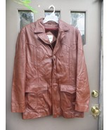 Vintage Berman's Leather Experts brown burgundy  button front  leather c... - $75.50