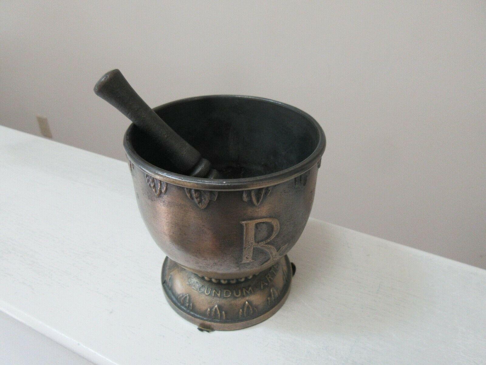 "Mortar and Pestle, Brass , Pharmacy , Rx , Hygeia , Rare , Vintage , 4""X4""X41/2"""