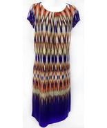 Chicos Size 2 Ikat Flame Stitch Rayon Shift Midi Womens Stretch Dress M ... - $27.55