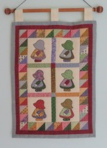 Hand Embroidered Wall hanging, Sun Bonnet Sue, Hand Stitched and Quilted - $20.00
