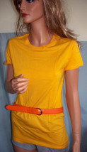 EW M Medium Gold Long T-SHIRT TUNIC TOP Orange Leather Belt Set Shirt Su... - $19.99