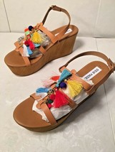 """STEVE MADDEN"" WOMENS TAN DECORATED PLATFORM WEDGES SIZE 9  SHOES - $5.95"