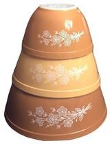 Vintage Pyrex Gold Butterfly 3 pc Mixing Bowl Set 401 402 403  - $98.99