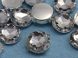 18mm Crystal Round Fancy Gems & Cup Settings - 12 Pieces - $5.92