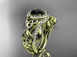 Black Diamond Celtic Wedding Ring Sets Yellow Gold Floral Bridal Set CT7300S - $2,575.00