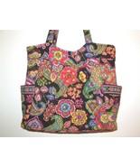 Vera Bradley Large Tote Symphony In Hue Shoulder Bag Purse Black Floral ... - $26.00