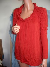 M Medium Newport News Orange Ruffle Hi-Lo Pullover Top Shirt Tunic T-Shirt Knit  - $39.99