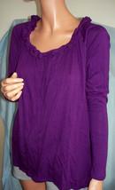 M Medium Newport News Purple Ruffle Hi-Lo Pullover Top Shirt Tunic T-Shirt Knit  - $39.99